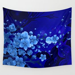 Cherry blossom, blue colors Wall Tapestry