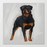 rottweiler Canvas Prints featuring Rottweiler by Kendra Aldrich