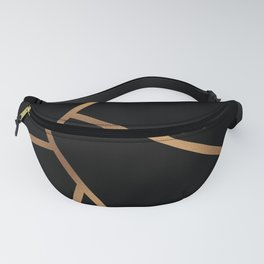 Black and Gold Fragments - Geometric Design Fanny Pack