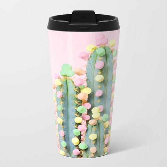 Marshmallow Cactus in Bloom Metal Travel Mug