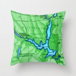 Scituate, Rhode Island Map - Scituate, Rhode Island Throw Pillow