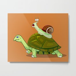 Frightened Snail Hitches a Ride Metal Print