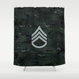 Staff Sergeant (Black Camo) Shower Curtain