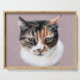 Cat portrait colored pencils Serving Tray