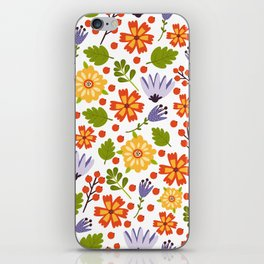 Sunshine yellow lavender orange abstract floral illustration iPhone Skin