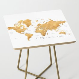 For God so loved the world, world map in gold Side Table
