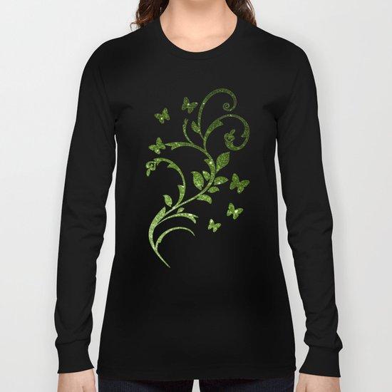 Beautiful Greenery Pantone glitter sparkles Long Sleeve T-shirt