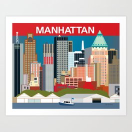 Manhattan, New York - Skyline Illustration by Loose Petals Art Print