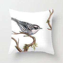 Black-and-White Warbler (Mniotilta varia) Throw Pillow