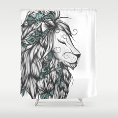 Poetic Lion Turquoise Shower Curtain