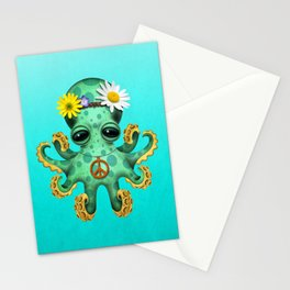 Cute Baby Octopus Hippie Stationery Cards