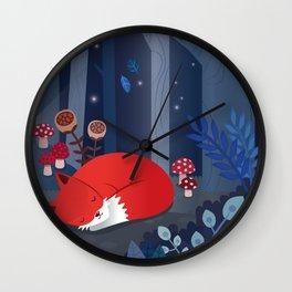Little fox sleeps in the woods Wall Clock