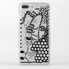 Bee black and white doodle drawing Clear iPhone Case