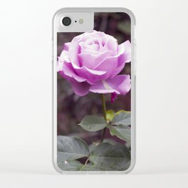 Hello Gorgeous Purple Rose Clear iPhone Case