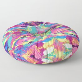 Rainbow Abstract Rorschach Style Painting Floor Pillow