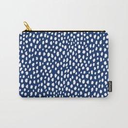 Handmade polka dot brush strokes (white/navy blue) Carry-All Pouch