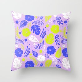 Purple & Neon Green Tropical Foliage Throw Pillow