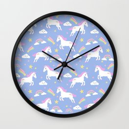 Unicorns happy clouds rainbows magical pony pattern Wall Clock