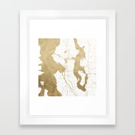 Seattle White and Gold Map Framed Art Print