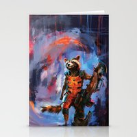 rocket raccoon Stationery Cards featuring Rocket by Wisesnail