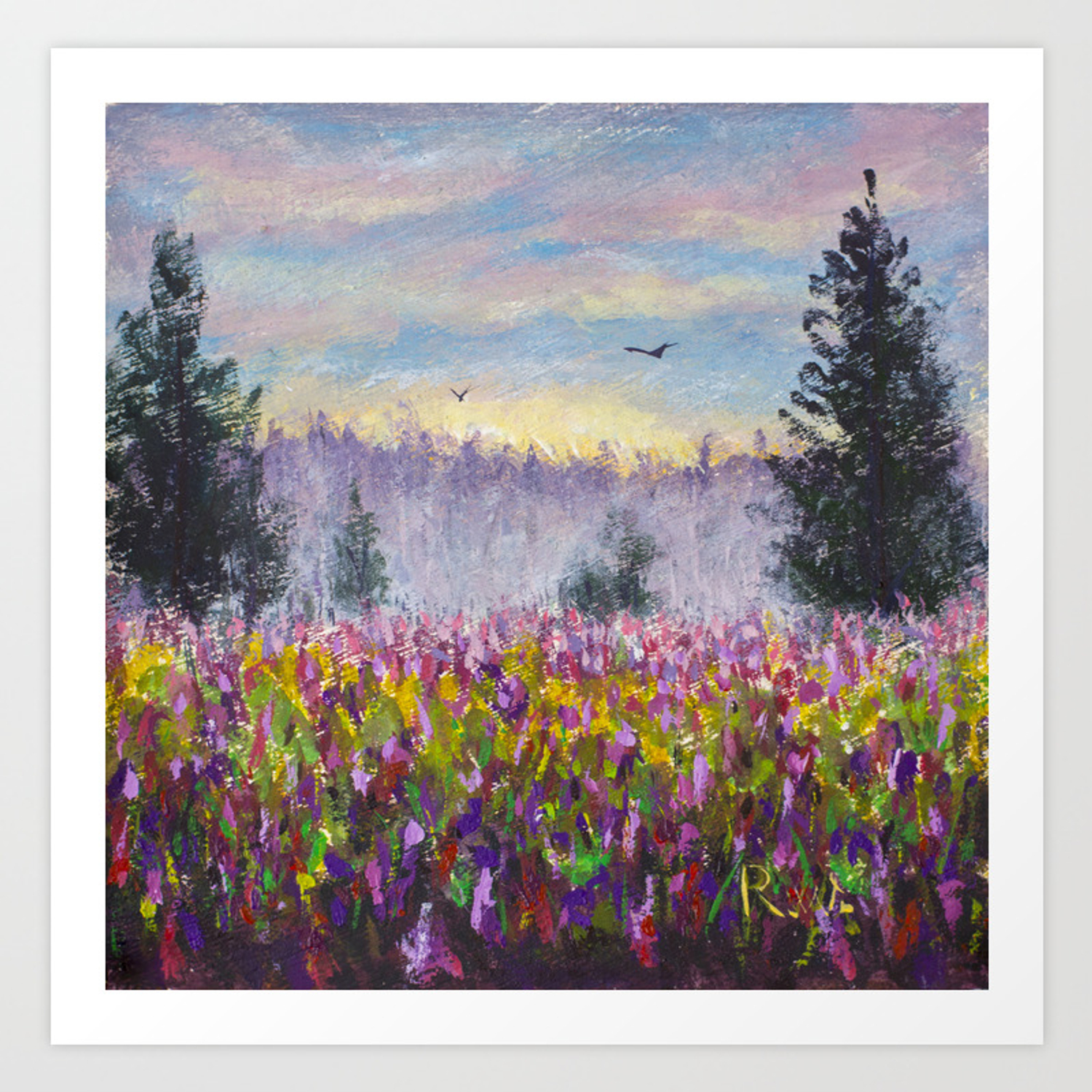 Flower Glade Field Of Purple Flowers Landscape Original Oil