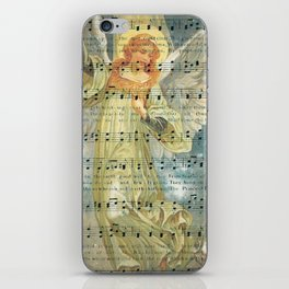 Christmas Angel Over House with Hymn iPhone Skin