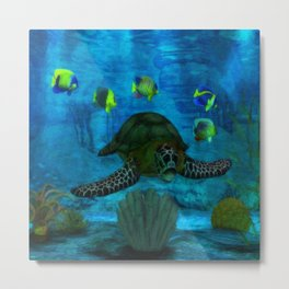 Into the Deep Aquarium Metal Print