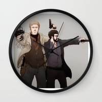 fargo Wall Clocks featuring Numbers & Wrench by Negative Dragon