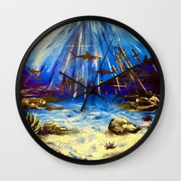 Shark Seascape Wall Clock