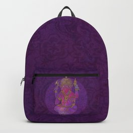 Ganesha hindu god watercolor gold purple art Backpack