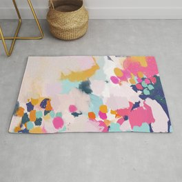 Misty Blooms- abstract - blue , pink and yellow Rug