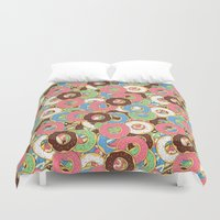 donuts Duvet Covers featuring Donuts by Beesants