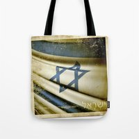 israel Tote Bags featuring Israel grunge sticker flag by Lulla