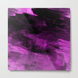 Purple Haze - Abstract, purple and black painting Metal Print