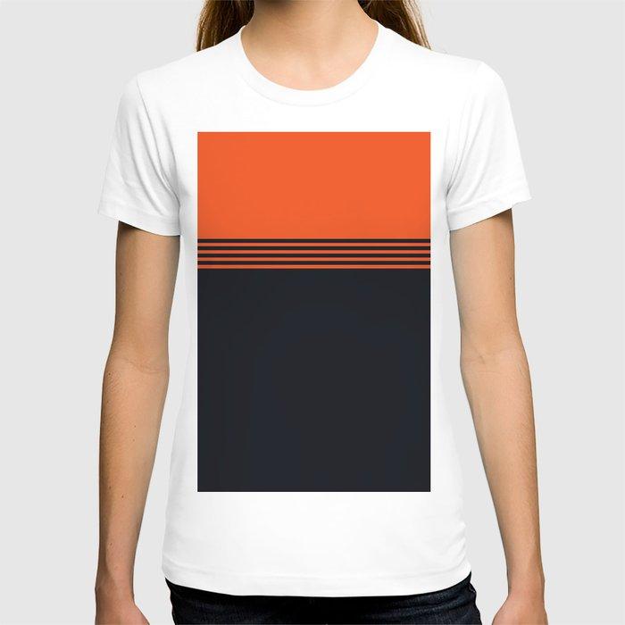 70s Orange Retro Striped Pattern T-shirt