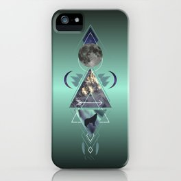 Mountain wolf and moon tribal abstract geometric collage iPhone Case