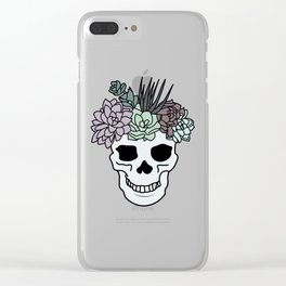 Pretty Aesthetic Skull Succulent Pastel Plant Head Clear iPhone Case