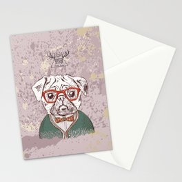 Hipster pug Stationery Cards