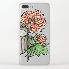 Beetle with Chrysanthemum Clear iPhone Case
