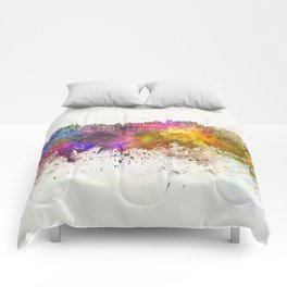 Porto skyline in watercolor background Comforters