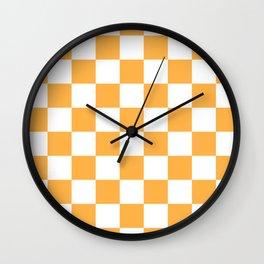 Checkered - White and Pastel Orange Wall Clock