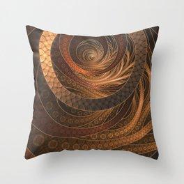 Earthen Brown Circular Fractal on a Woven Wicker Samurai Throw Pillow