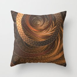 Earthen Brown Circular Fractal on a Woven Wicker Samurai Throw Pillow