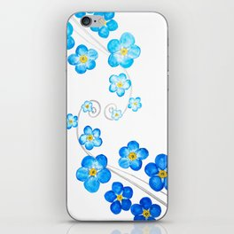 blue forget me not watercolor 2017 iPhone Skin