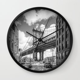 NEW YORK CITY Manhattan Bridge | Monochrome Wall Clock