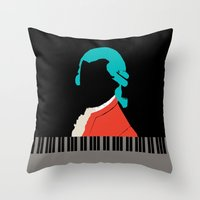 mozart Throw Pillows featuring Mozart  by Prelude Posters