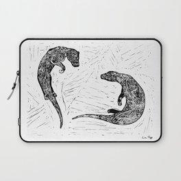 Swimming Otters Linoprint Laptop Sleeve