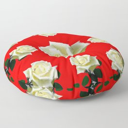 WHITE ROSES RED GARDEN DESIGN Floor Pillow