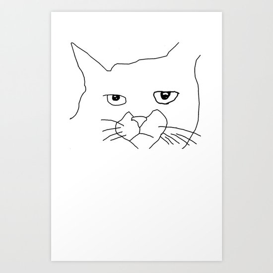oh hai cat face Art Print