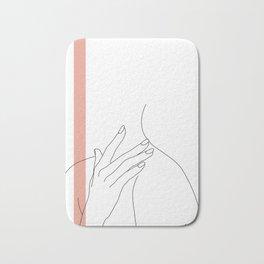 Hands line drawing illustration - Danna stripe Bath Mat